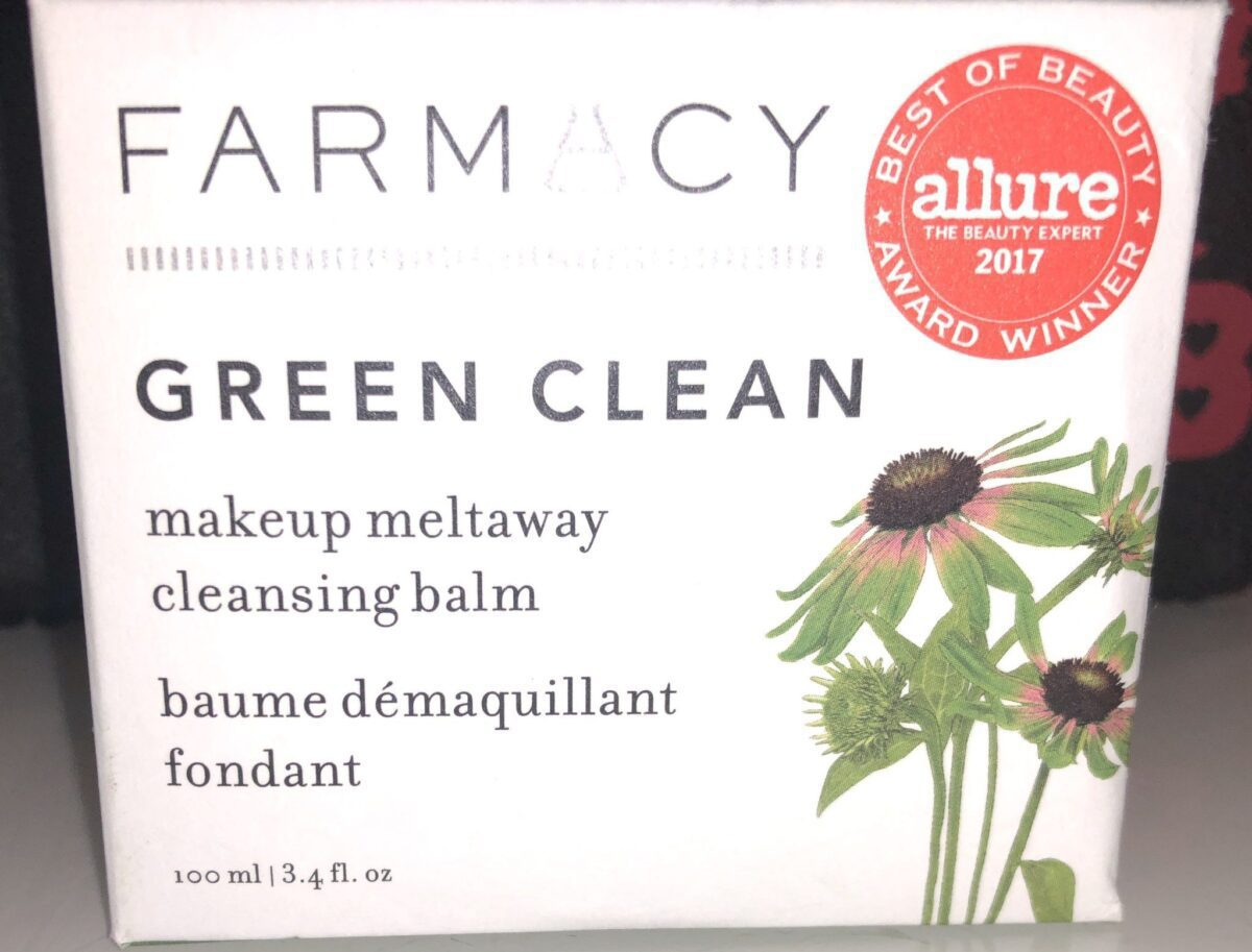 THE OUTER PACKAGING FOR FARMACY GREEN CLEAN MAKEUP MELTAWAY CLEANSING BALM