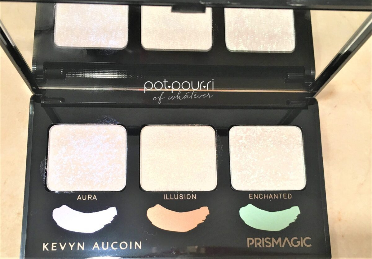 KEVYN AUCOIN PRISMAGIC HIGHLIGHTER TRIO INSIDE PALETTE 3 HIGHLIGHTER PANS AND FULL WIDTH MIRROR
