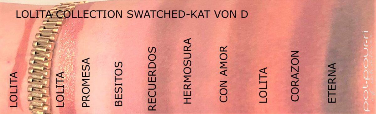 KAT VON D NEW LOLITA COLLECTION SWATCHES