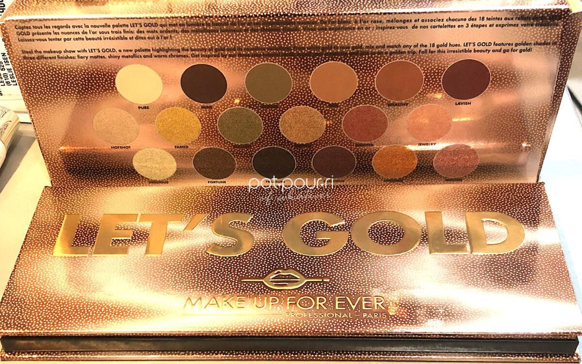 PACKAGING MAKEUP FOREVER LET'S GOLD BACK OF BOX AND COMPACT