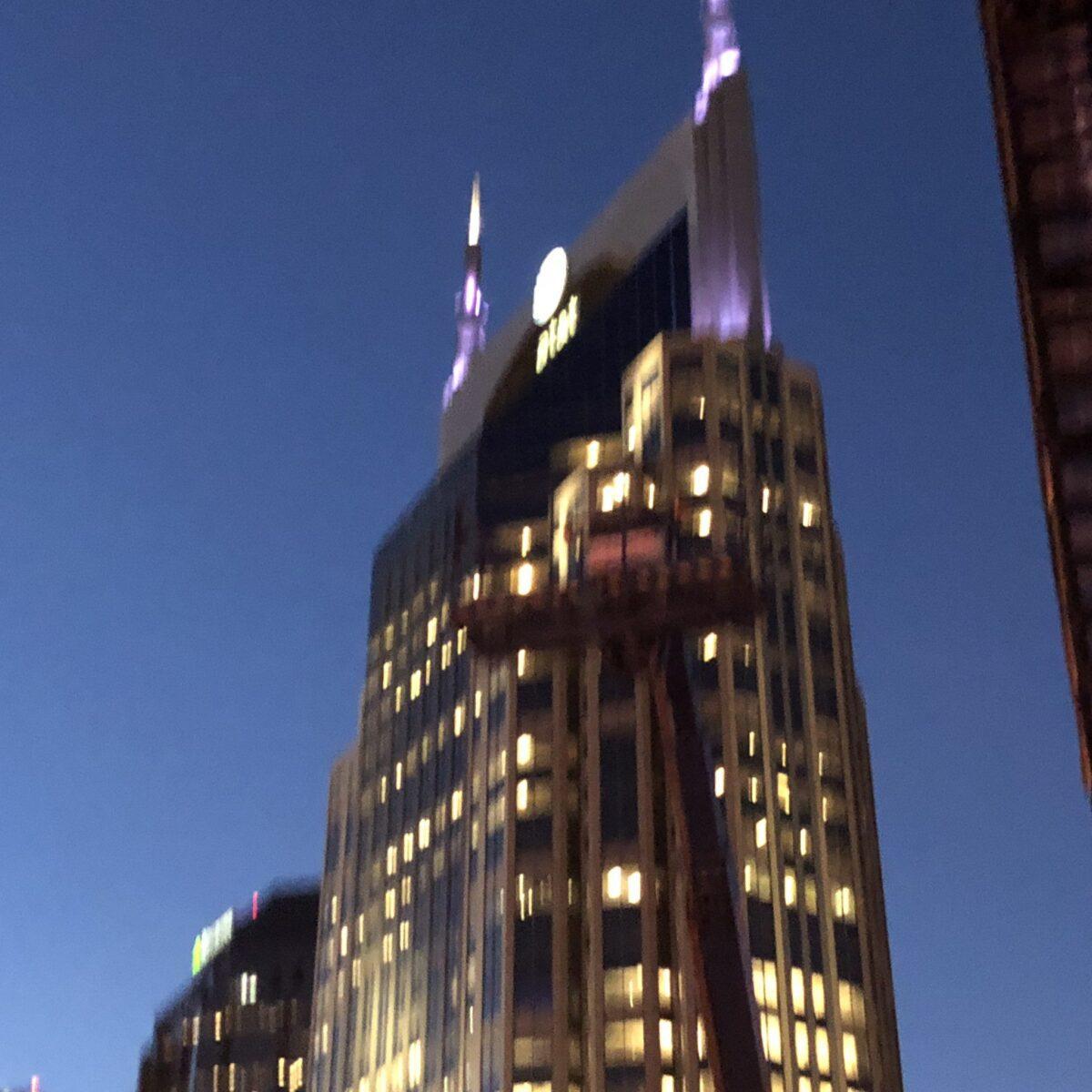 AT&T BUILDING AT NIGHT