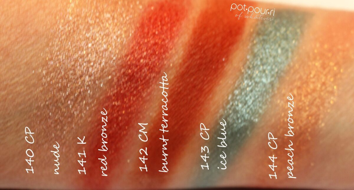 swatches for Aeris eyeshadow palette