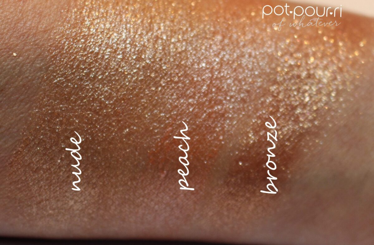 nude, peach and bronze top coat shades swatched