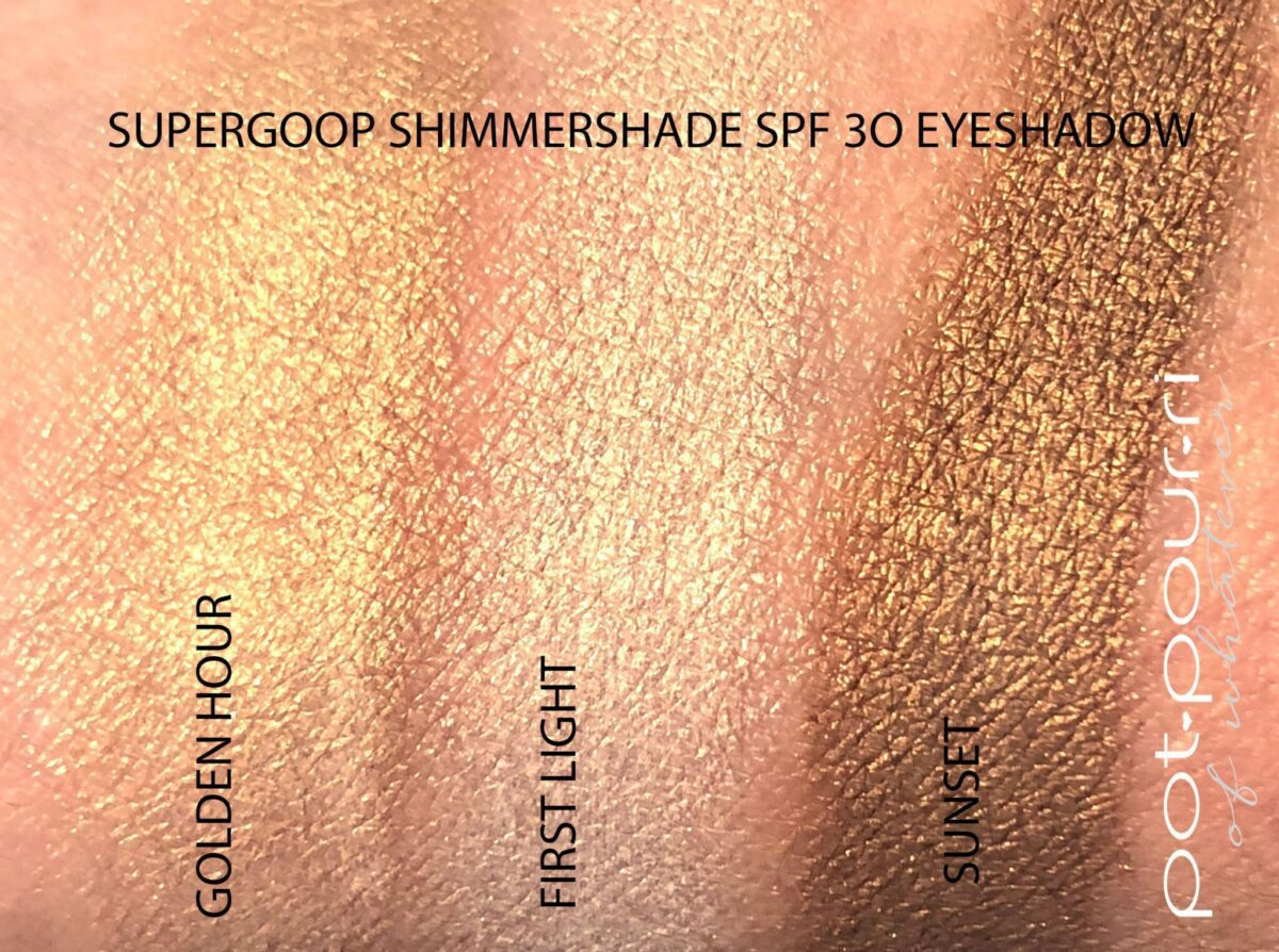SWATCHES SUPERGOOP SHIMMERSHADE SPF 30 EYE SHADOWS