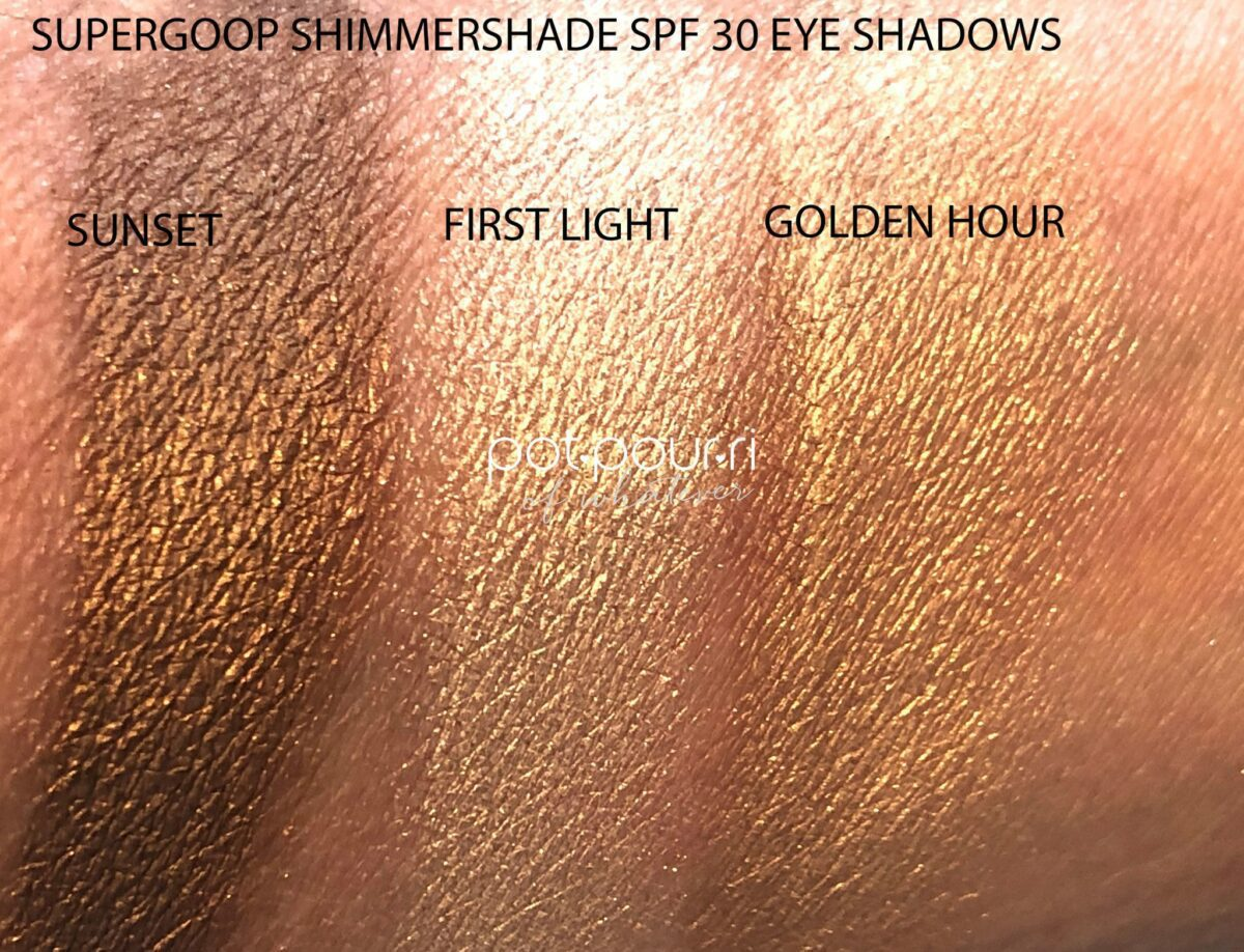 SWATCHES OF SUPERGOOP SHIMMERESHADE SPF 30 EYESHADOWS