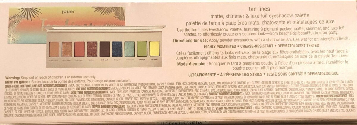 JOUER TAN INES SUMMER COLLECTION EYE SHADOW PALETTE INGREDIENTS