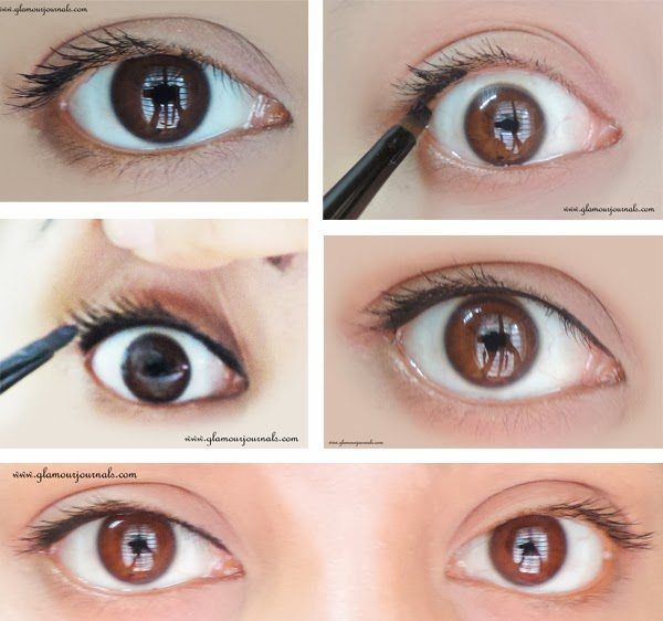 tightlining-How-to-make-your-lashes-look-dark-without-using-mascara-tightlining-tutorial-collage