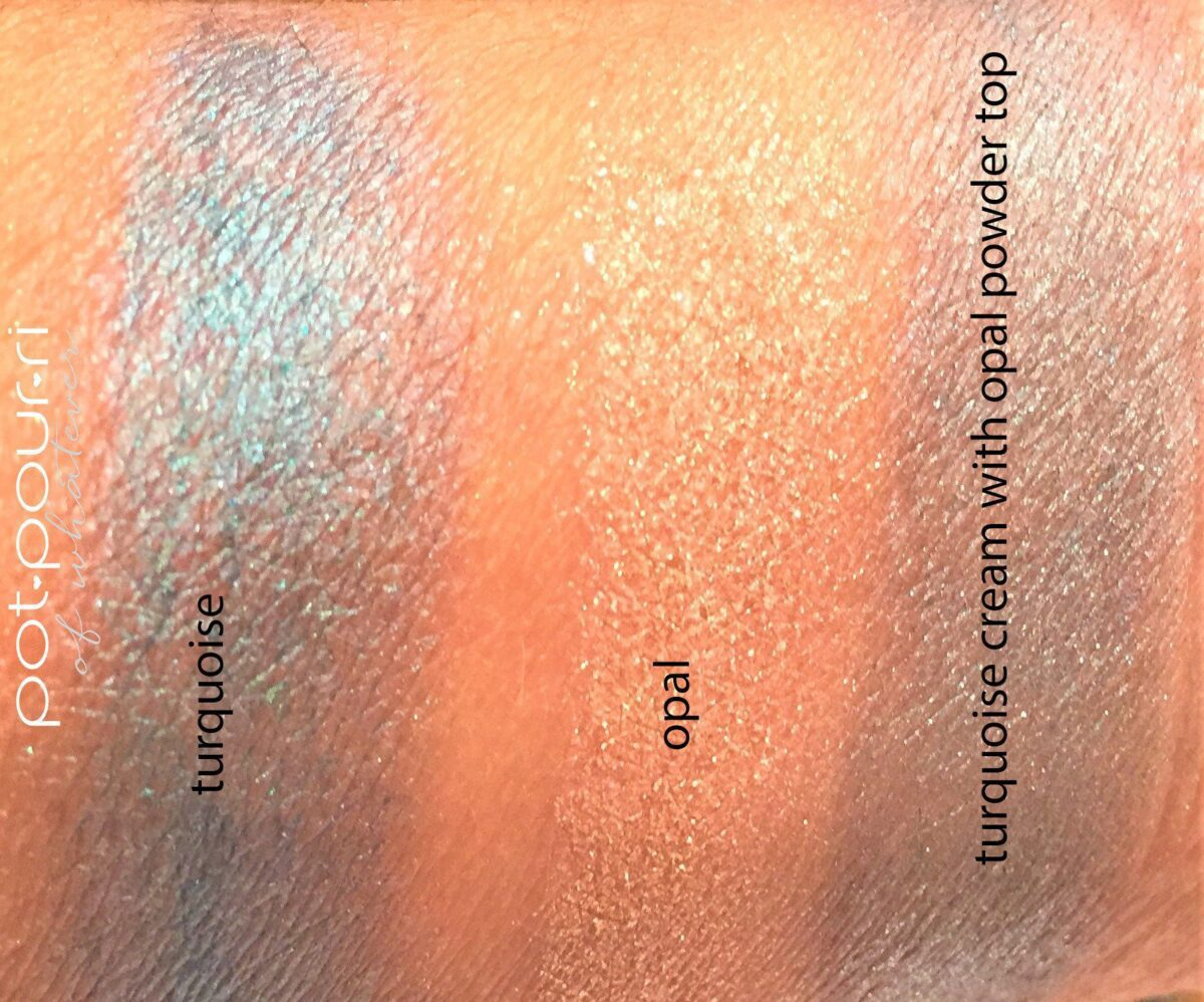 top is turquoise cream, middle is opal powder, bottom is turquoise cream with opal powder on top