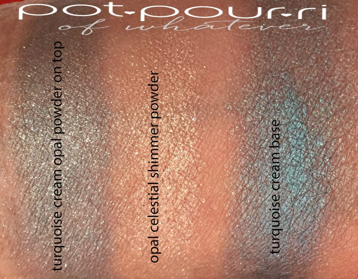 swatches of Cream powder eye color in Azure Sun