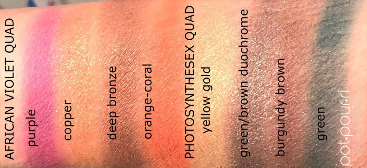 AFRICAN VIOLET AND PHOTOSYNTHESEX NEW TOM FORD EYE SHADOW QUADS SWATCHES