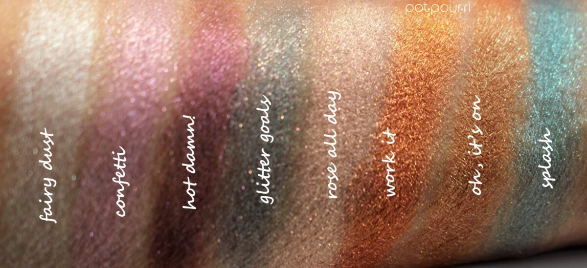 The glitter shades swatched