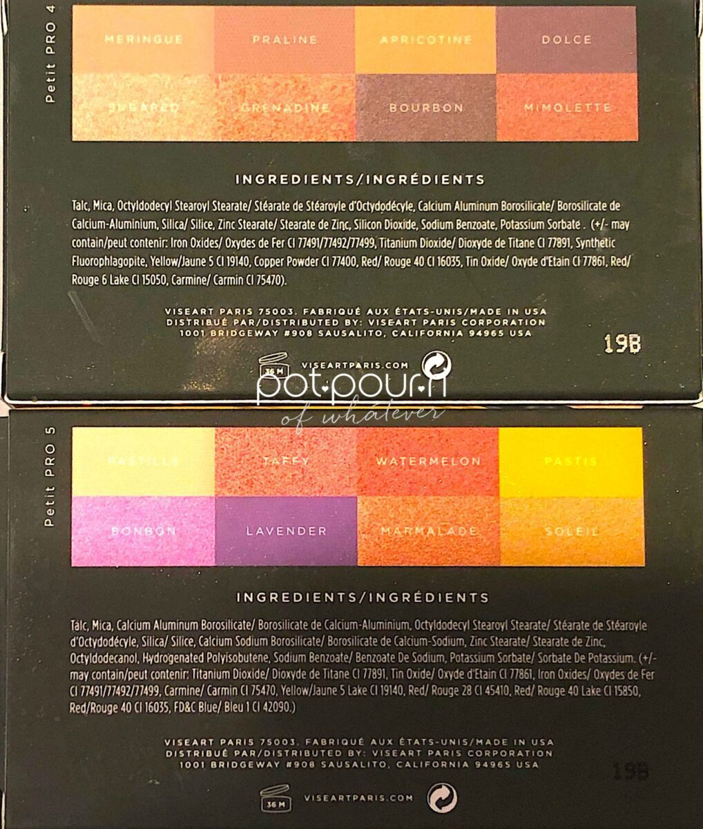THE INGREDIENTS FOR THE VISEART PETIT PRO PALETTES APRICOTINE AND SOLEIL