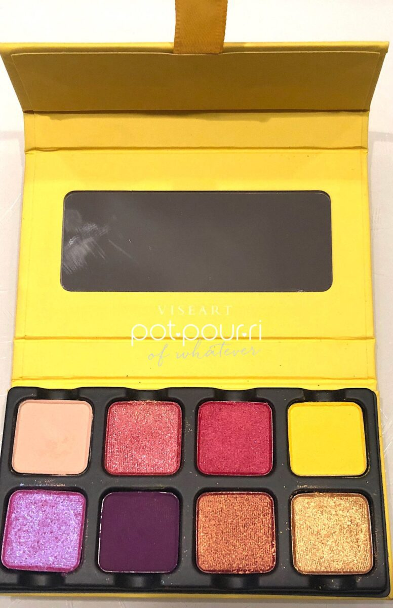 SOLEIL PALETTE, VISEART PETIT PRO PALETTES OPENED TO EIGHT SHADES AND A WIDTH WIDE MIRROR